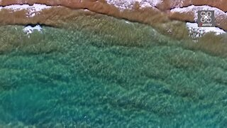 Drone footage captures Greek beach with sandy dunes and clear water