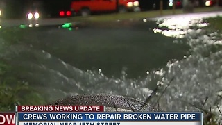 Crews Working To Repair Broken Water Main - Video