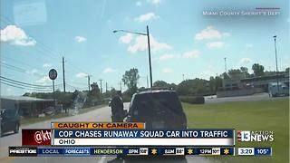 Ohio sheriff's deputy has to chase patrol vehicle - Video
