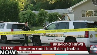 Homeowner shoots himself during break-in - Video