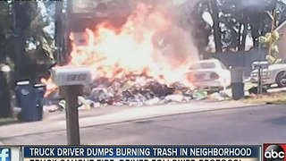 Recycling truck catches fire, driver dumps tons of burning debris onto parked cars - Video