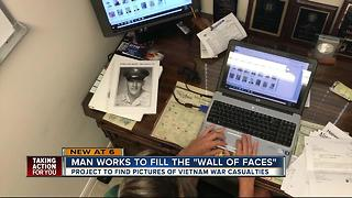 Florida man tracking down Vietnam Soldier Pictures for Wall of Faces memorial - Video