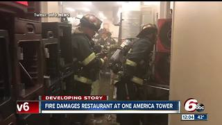 Fire at downtown One America building leaves behind water on restaurant's floor - Video