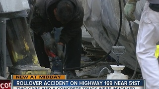 Highway 169 having traffic problems due to rollover accident - Video