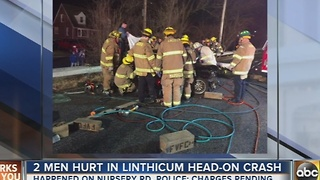 2 men hurt in head on crash in Linthicum - Video