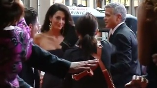 George Clooney shows off his fiancee ahead of wedding - Video