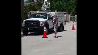 FULL VIDEO: Florida homeowner shoots at AT&T trucks, upset they were parked outside his home - Video