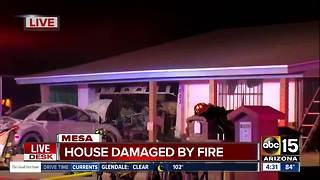 Home damaged by fire in Mesa - Video