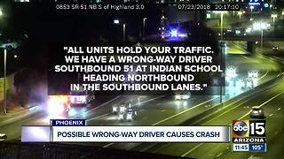 Possible wrong-way driver causes crash, takes off - Video