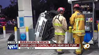 Driver loses control, flips near gas pump