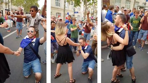 Awkward moment man proposes during world cup celebrations only to be rejected in front of football fans