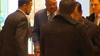 Jim Brown arrives at Trump Tower