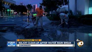 Major clean-up after Coronado water main break - Video