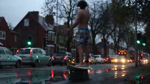 "Flooding in UK allows for epic ""surfing"" experience"