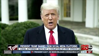 President Trump banned from social media platforms: local attorney says it's not a violation of free speech