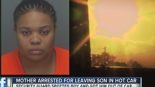 Mother arrested for leaving son in hot car - Video