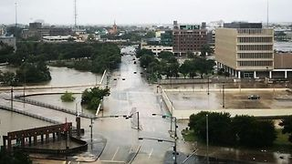 Tropical Storm Harvey Floodwaters Engulf Downtown Houston - Video