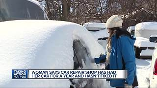 Woman says car repair shop has had her car for a year and hasn't fixed it - Video