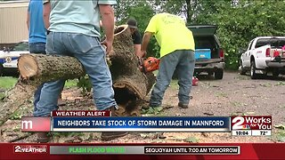 Neighbors take stock of storm damage in Mannford