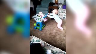 Baby Girl Tries To Learn How To Walk But Falls Repeatedly