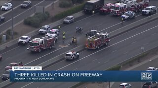 Three people killed after crash on I-17 near Dunlap
