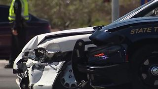 Nevada Highway Patrol trooper hurt after crash in Las Vegas - Video