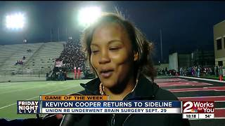 Keviyon Cooper returns to sideline for Union senior night, just over one month after emergency brain surgery - Video