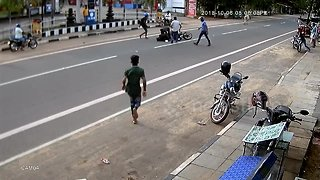 Moove out the way! Motorbike rider escapes serious injury after collision with cow