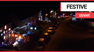 Drone footage shows Britain's most festive street