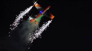Amazing Model Aircraft Show With Pyrotechnics And Fireworks