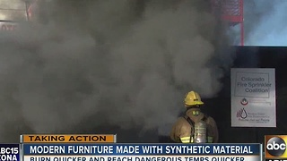 Modern furniture made with synthetic material can be dangerous - Video