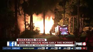 Home destroyed by fire in North Fort Myers Monday morning - Video