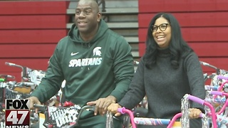 Magic Johnson brings holiday hope to Lansing - Video