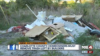Charlotte County homeowners must remove trash left by builders