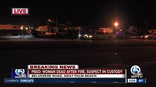 PBSO: Suspect in custody, female dead after trailer fire at metal recycling business - Video