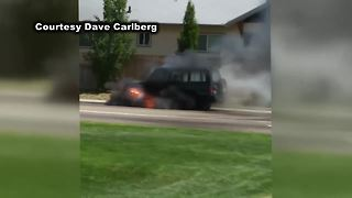 VIDEO: Car bursts into flames in Nampa, driver safe