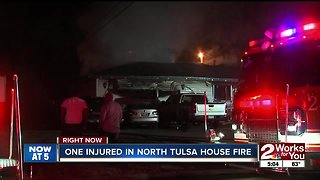 One injured in north Tulsa house fire