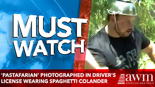 'Pastafarian' Photographed in Driver's License Wearing Spaghetti Colander on Head - Video