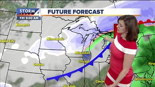 Increasing clouds, colder Monday