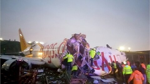 Plane breaks into pieces after skidding off runway