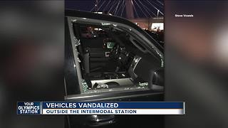 Dozens of vehicles vandalized outside the intermodal station - Video