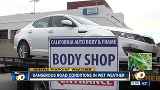 Dangerous road conditions in wet weather - Video