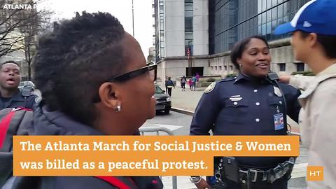 Following the massive Women's March, protesters thank their police officers