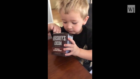 Watch: Mom Lets Toddler Eat Hershey's Cocoa from Cabinet After Days of Begging