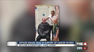 Officer shaves head in support of cancer patient
