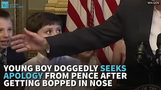 Young Boy Doggedly Seeks Apology From Pence After Getting Bopped In Nose - Video
