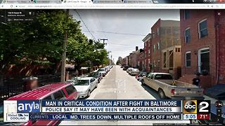 Police: Man in critical condition after fight in Baltimore - Video