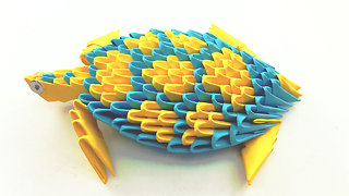 3D origami Yellow turtle Tutorial - How To Make an Origami Turtle