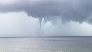 Waterspout Spotted Churning Off Fort Morgan Coastline