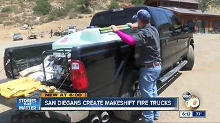 San Diegans create makeshift fire trucks - Video